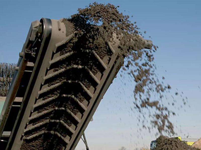 Nastro trasportatore listellato in gomma per sabbia